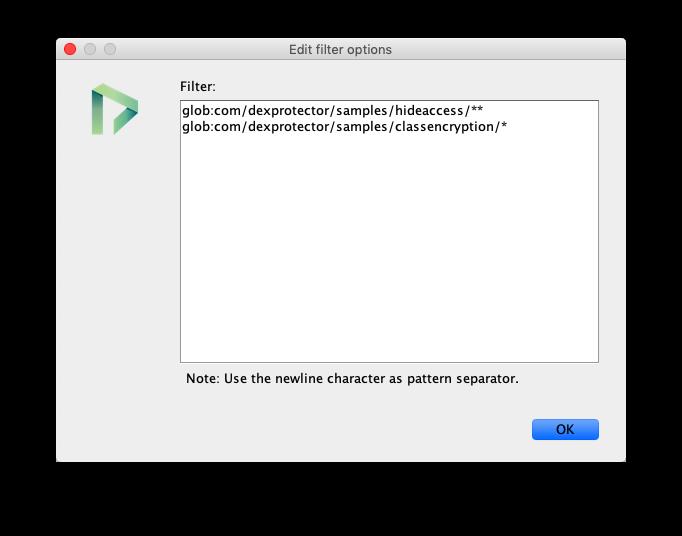 DexProtector filter format
